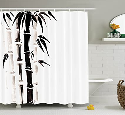 Ambesonne Bamboo House Decor Shower Curtain Set Pattern In Traditional Chinese Watercolor Painting Style