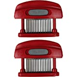 Mr. Food Butcher Magician 45-Blade Stainless Steel Meat Tenderizer, Red (2 Pack)