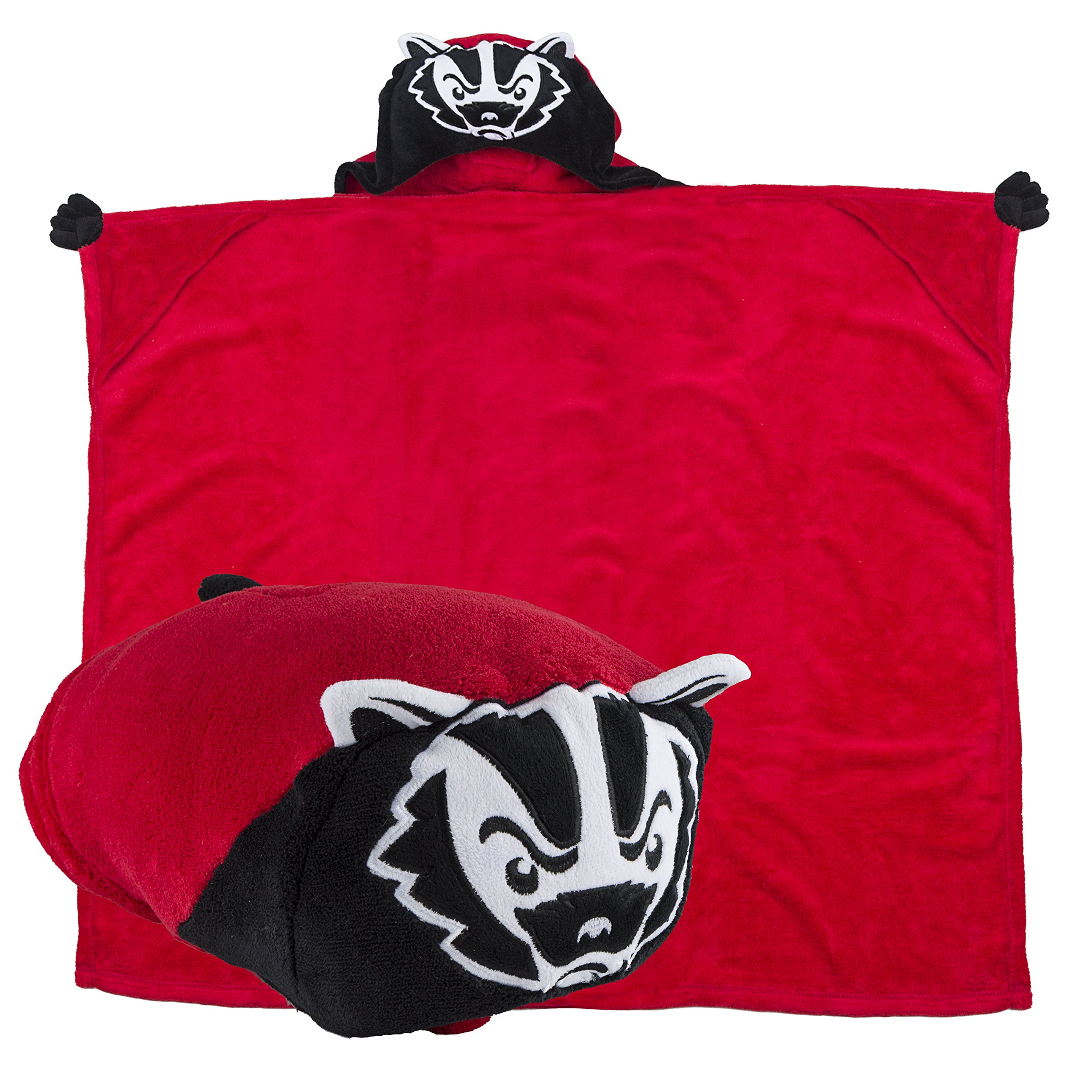 Comfy Critters Stuffed Animal Blanket – College Mascot, University of Wisconsin 'Bucky Badger' – Kids huggable pillow and blanket perfect for the big game, tailgating, pretend play, and much more