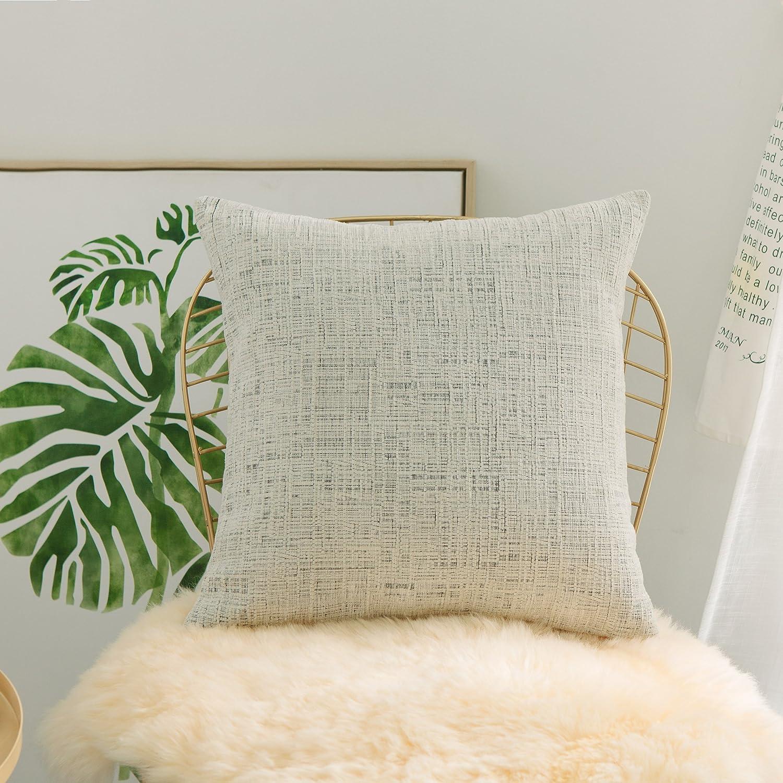 "Home Brilliant Throw Pillow Cases Euro Shams Super Soft Striped Chenille Velvet Plush Large Cushion Cover for Living Room, 26"" x 26"" (66cm), Cream Mixed Black"
