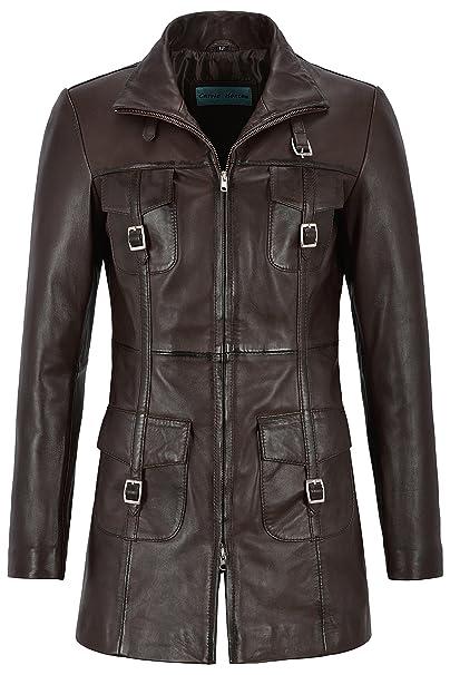 Smart Range Mistress Chaqueta de Cuero para Mujer Chaqueta de Cuero marrón Estilo gótico 1310