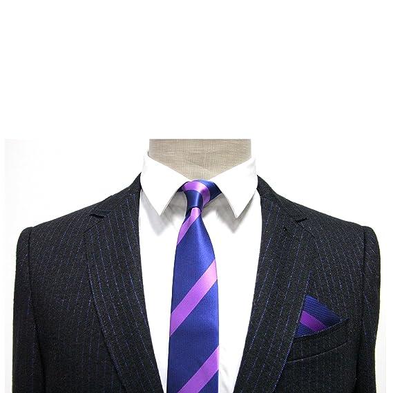 Conjunto corbata estrecha & pañuelo de bolsillo navy con rayas ...