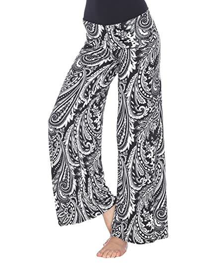 03ce01e6317 Amazon.com  White Mark Women s Wide Leg Palazzo Pants Printed ...