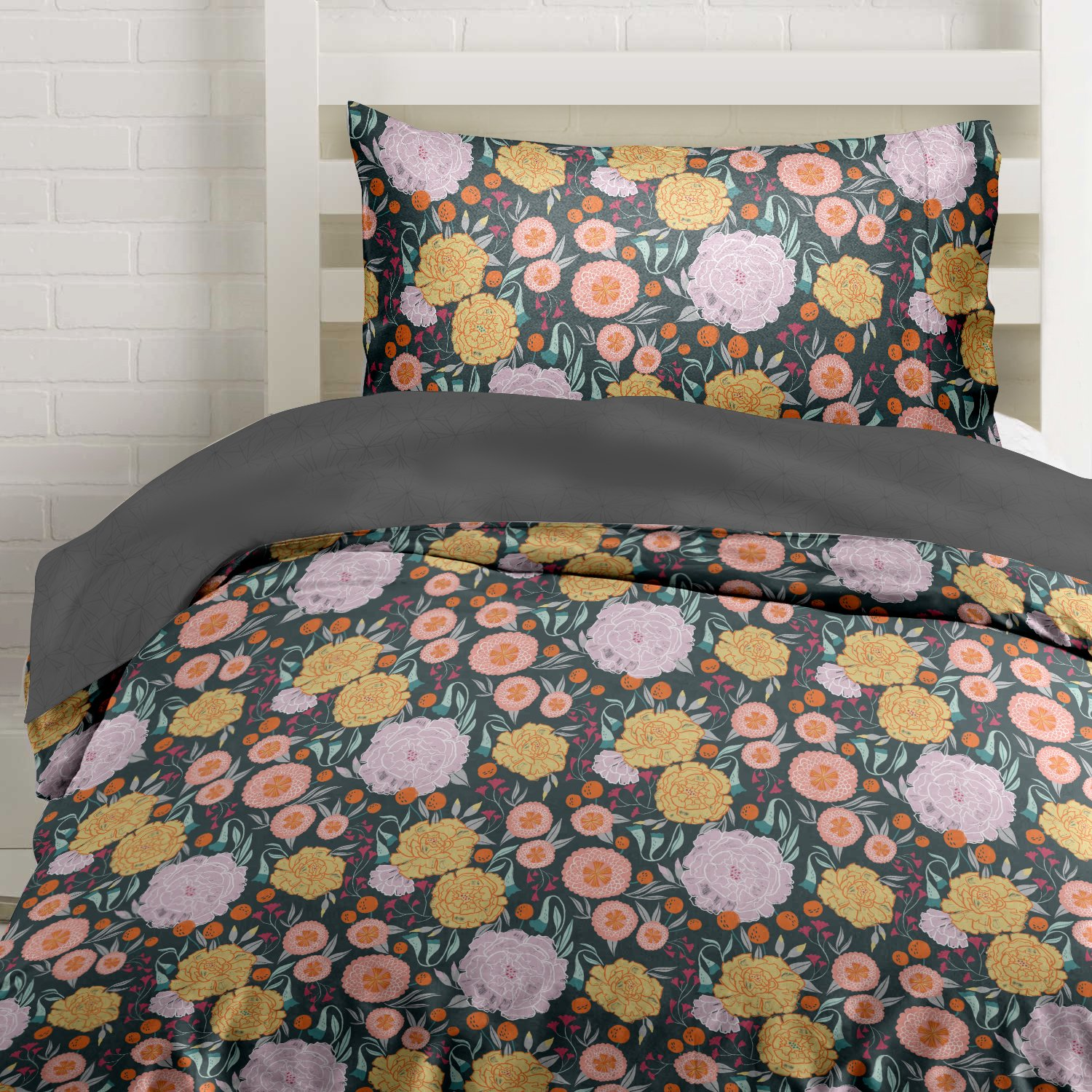 Where the Polka Dots Roam Vintage Floral on Gray Duvet Cover Twin Size Bedding, Grey with Pink, Seafoam Teal, Yellow and Coral Flowers