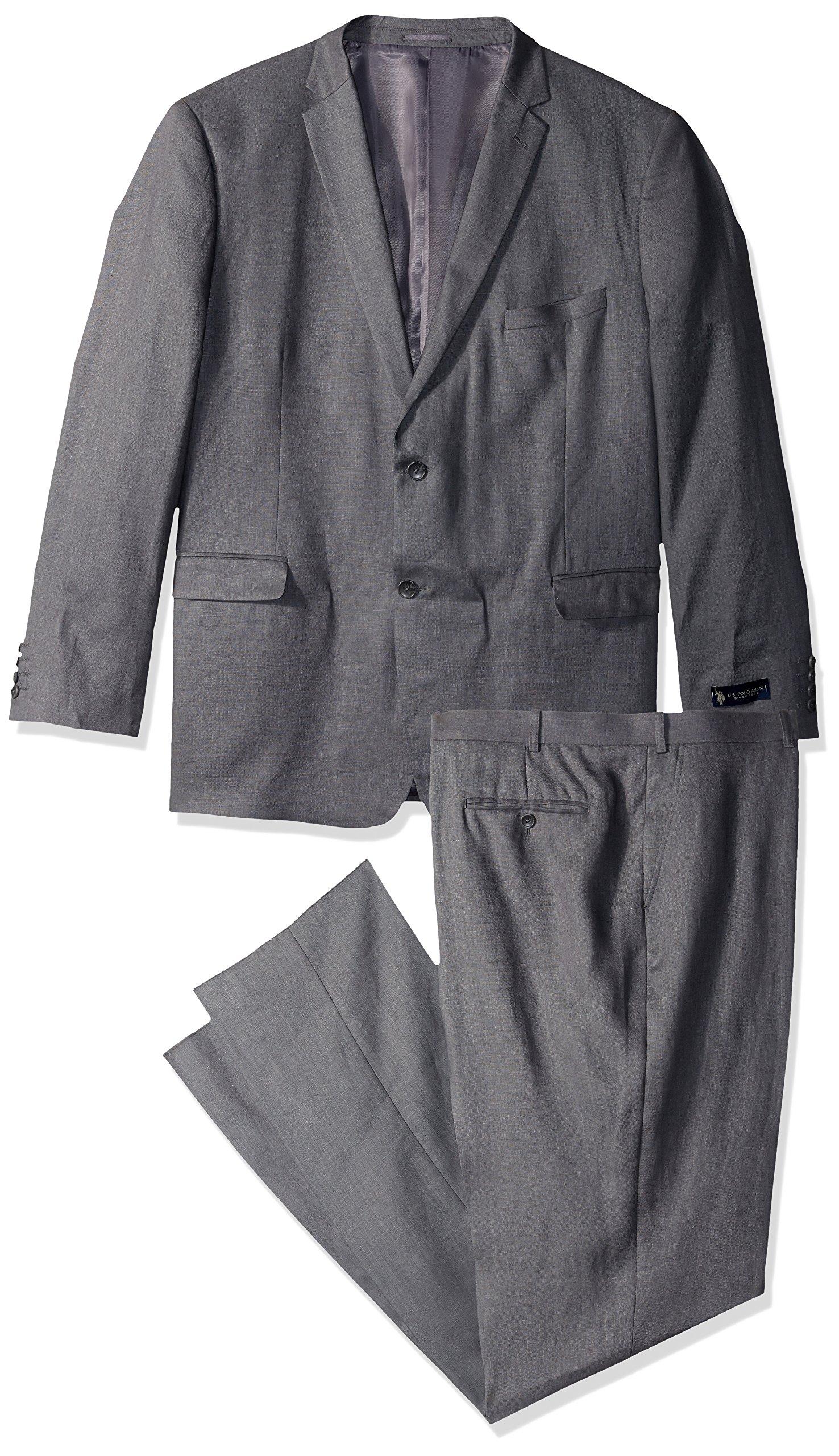 U.S. Polo Assn.. Men's Big and Tall Linen Suit, Grey, 50 Regular