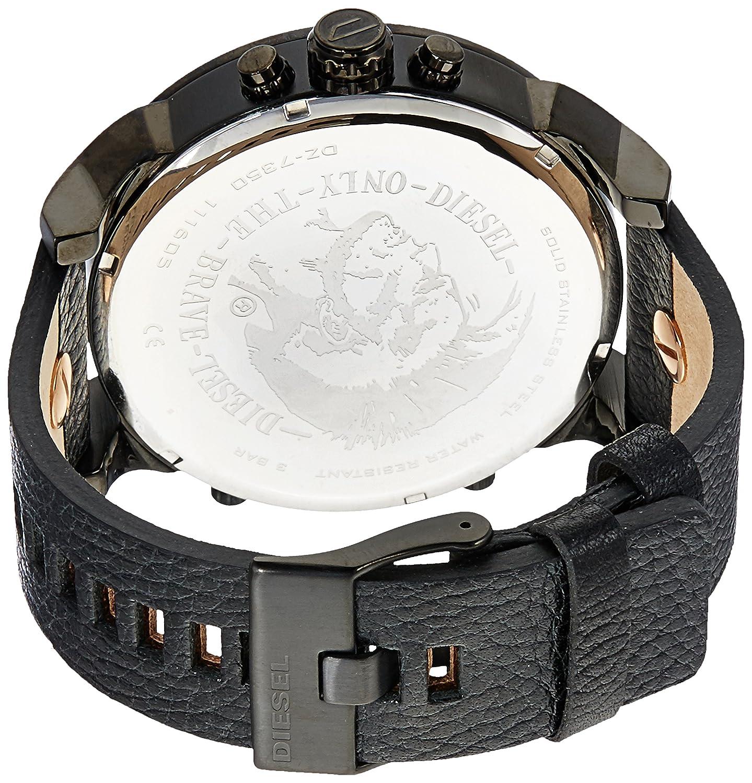 11c0acb1e Amazon.com: Diesel Men's DZ7350 Mr Daddy 2.0 Black Ip Black Leather Watch:  Watches