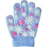 Girls Super Soft Fine Knit Magic Stretch Gripper Winter Gloves