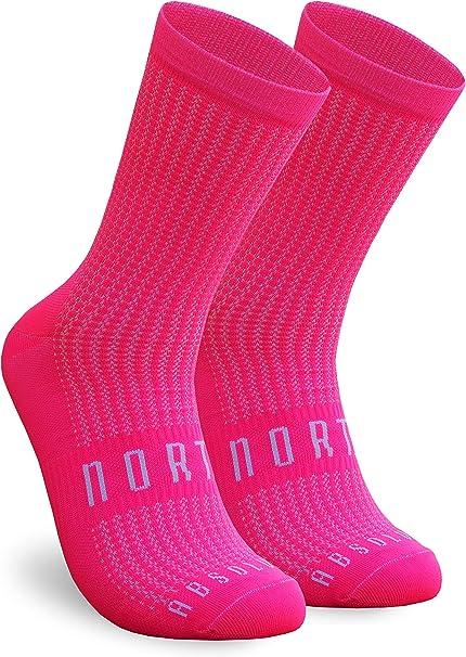 NORTEI Calcetines Rosa Flúor para Ciclismo, MTB y Running de Caña Alta para Hombre y Mujer – Absolute Pink: Amazon.es: Deportes y aire libre
