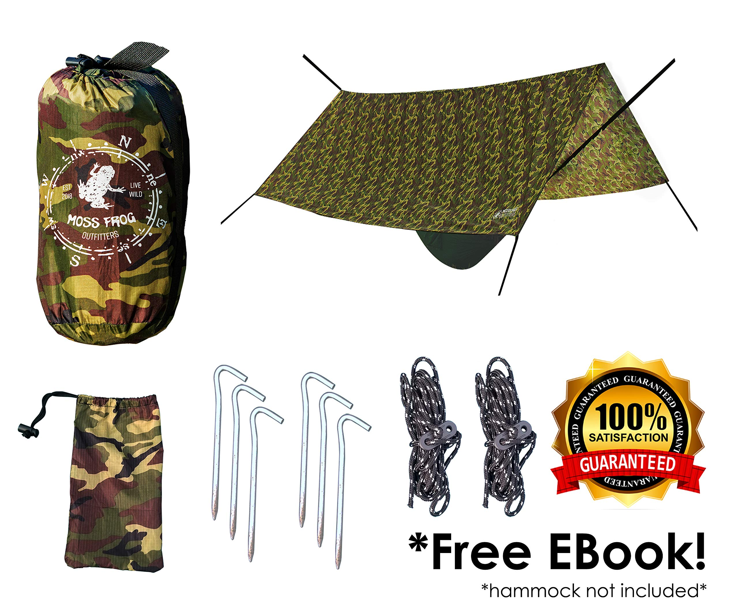Moss Frog Outfitters Hammock Rain Fly/Camping Tarp Tent Shelter, Portable, Lightweight 10' x 10' - Green Camo by Moss Frog Outfitters