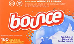 Bounce Fabric Softener Dryer Sheets, Fresh Linen, 160 Count - Packaging May Vary