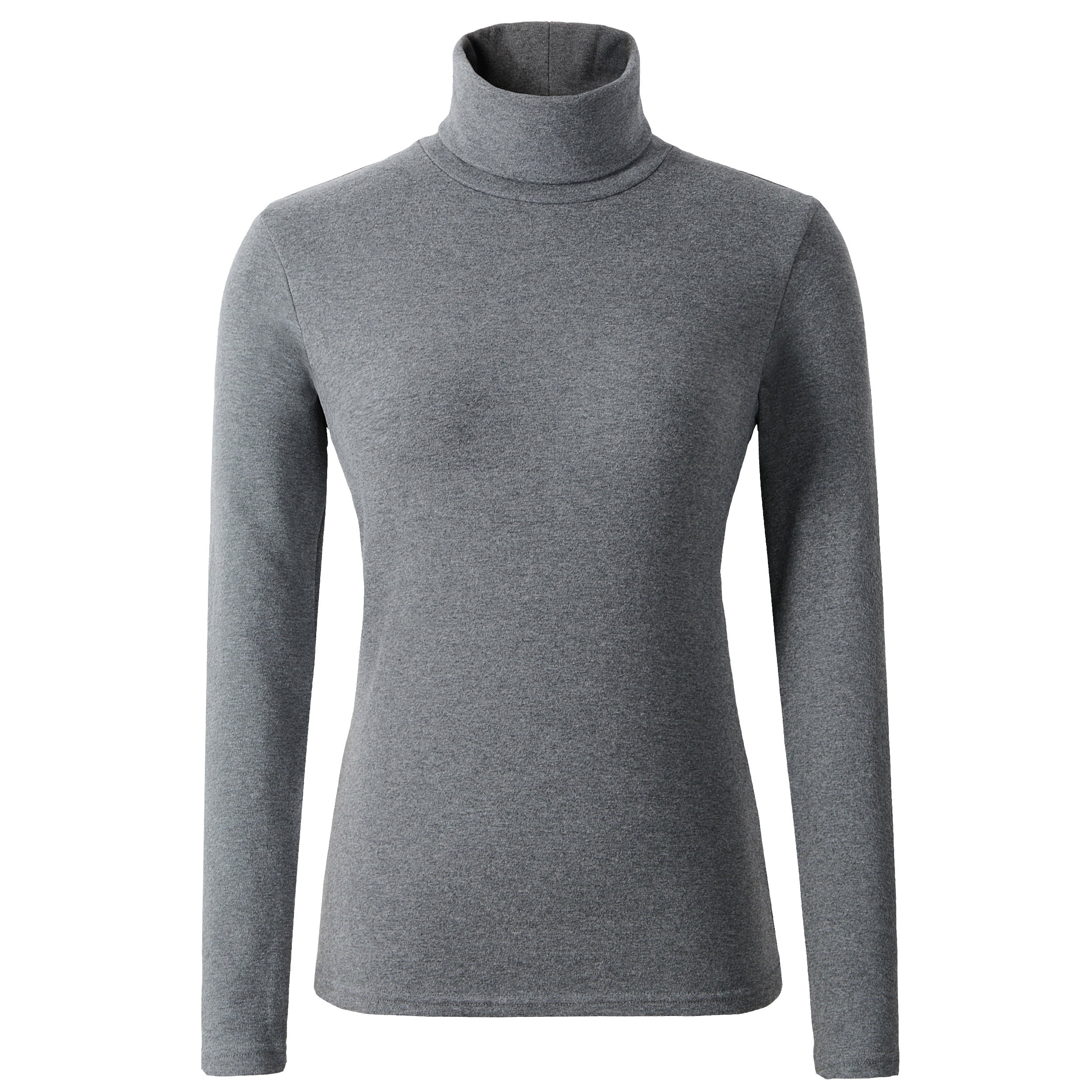 HieasyFit Women's Soft Cotton Turtleneck Top Basic Layer Darkgray S by HieasyFit