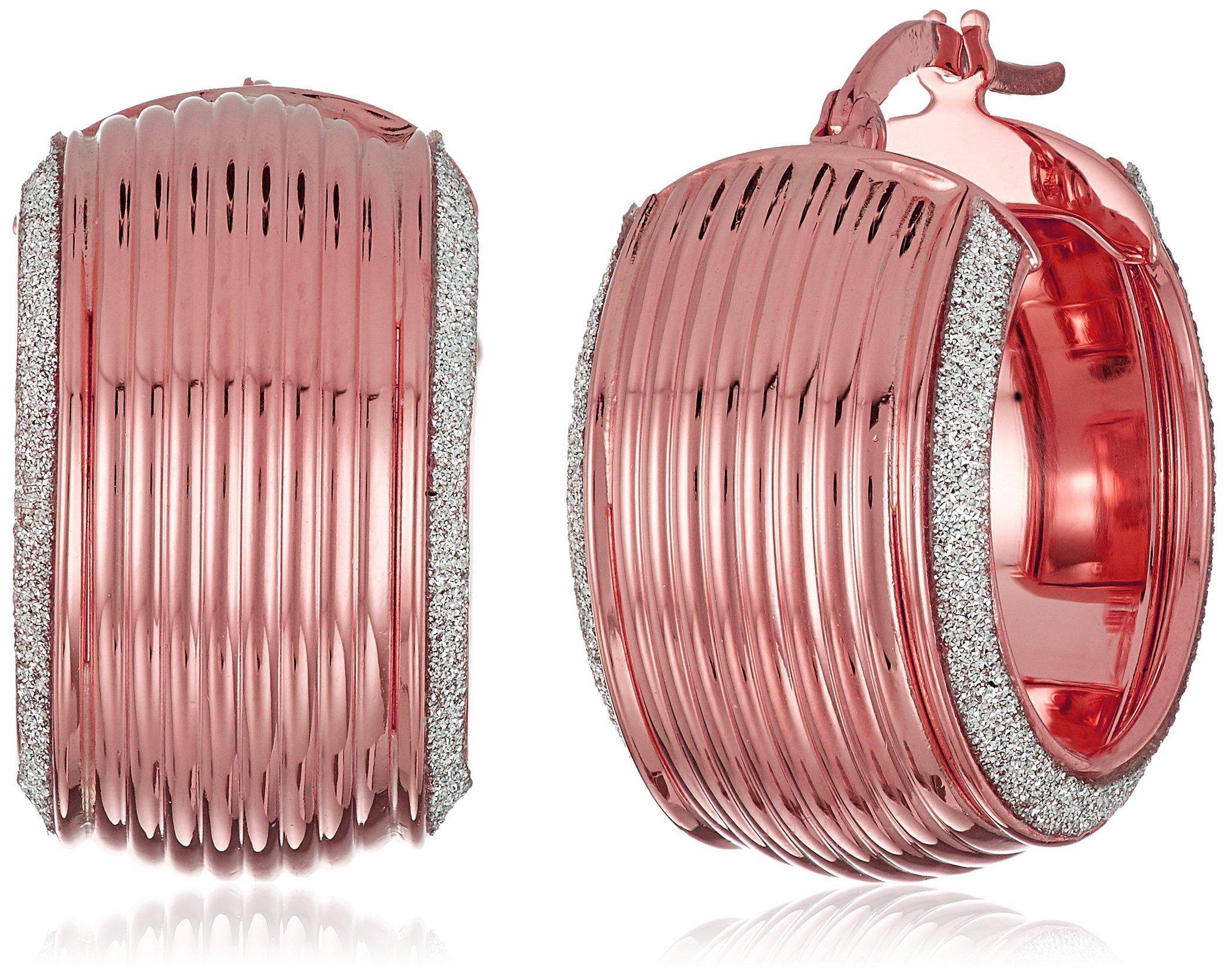 14k Rose Gold Italian Wide Hoop Earrings with Dual Pave Style Glitter Strips Hoop Earrings