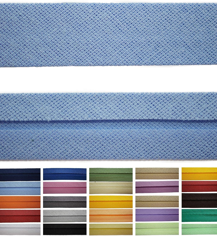 Roban Fashion Cinta al bies de algod/ón Disponible en 24 Colores 9 mm de Ancho