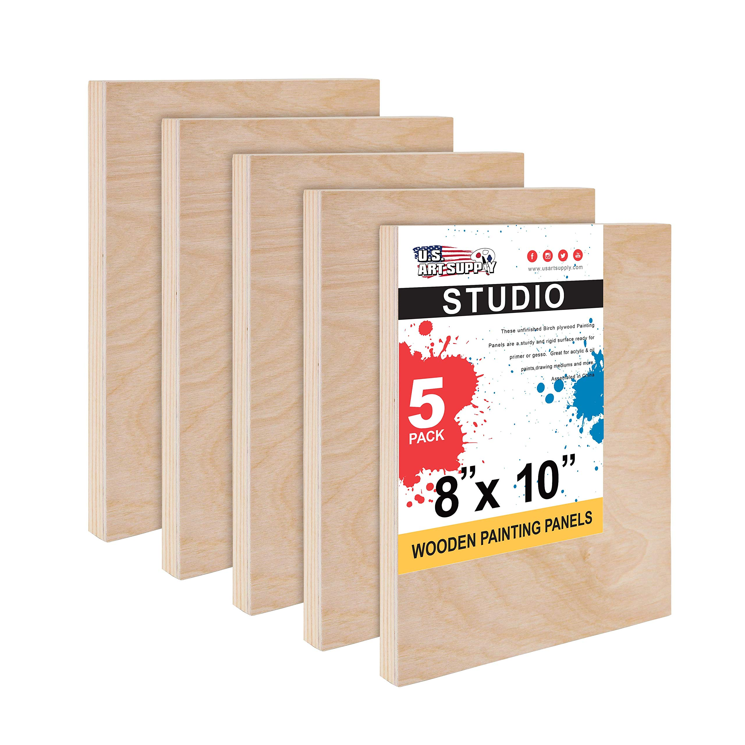 U.S. Art Supply 8'' x 10'' Birch Wood Paint Pouring Panel Boards, Studio 3/4'' Deep Cradle (Pack of 5) - Artist Wooden Wall Canvases - Painting Mixed-Media Craft, Acrylic, Oil, Watercolor, Encaustic by U.S. Art Supply