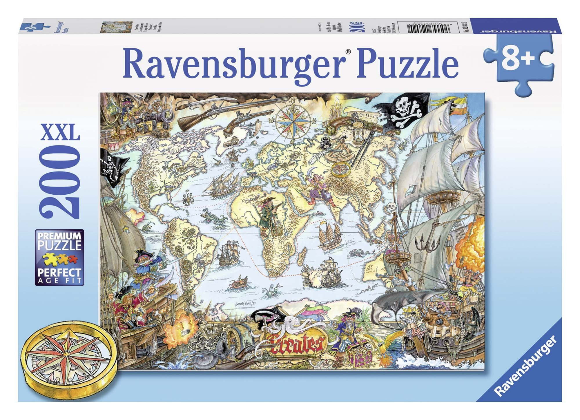 Every Piece is Unique Pieces Fit Together Perfectly Ravensburger Pirate Map 200 Piece Jigsaw Puzzle for Kids