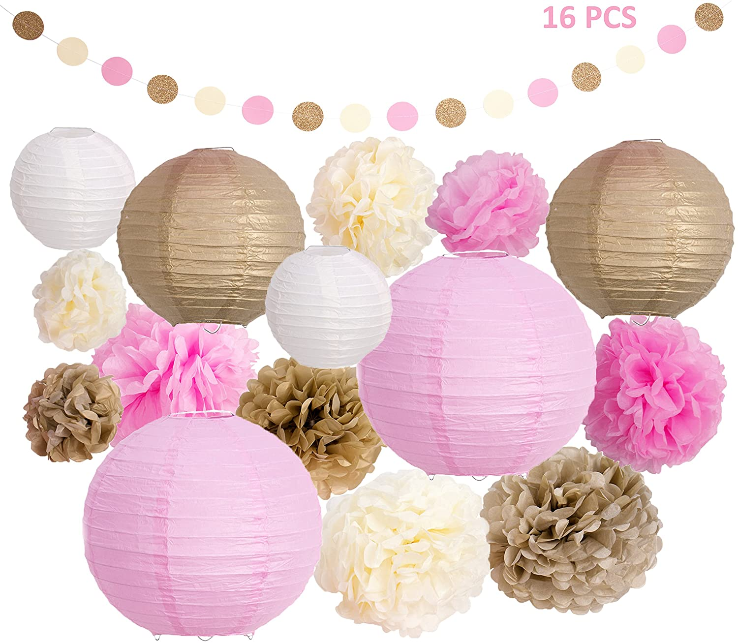 Happy Kid Essentials Pink and Gold Baby Shower Decorations with Paper Lanterns Tissue Paper Pom Poms Garland 1st Birthday Girl Decorations, Bridal Shower Decorations Happy Life Essentials HKE-07
