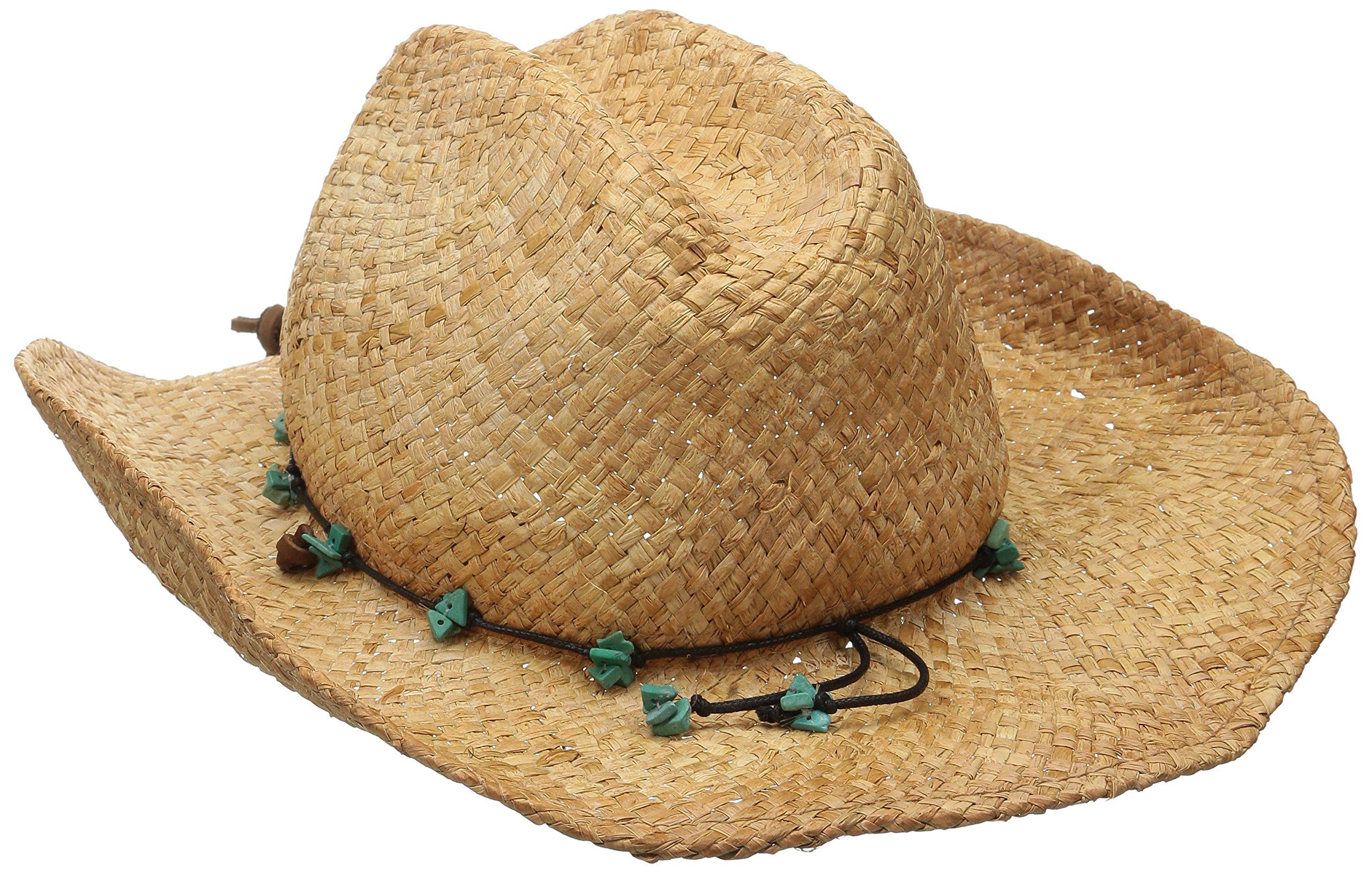 Scala Women's Straw Cowboy Hat, Tea, One Size