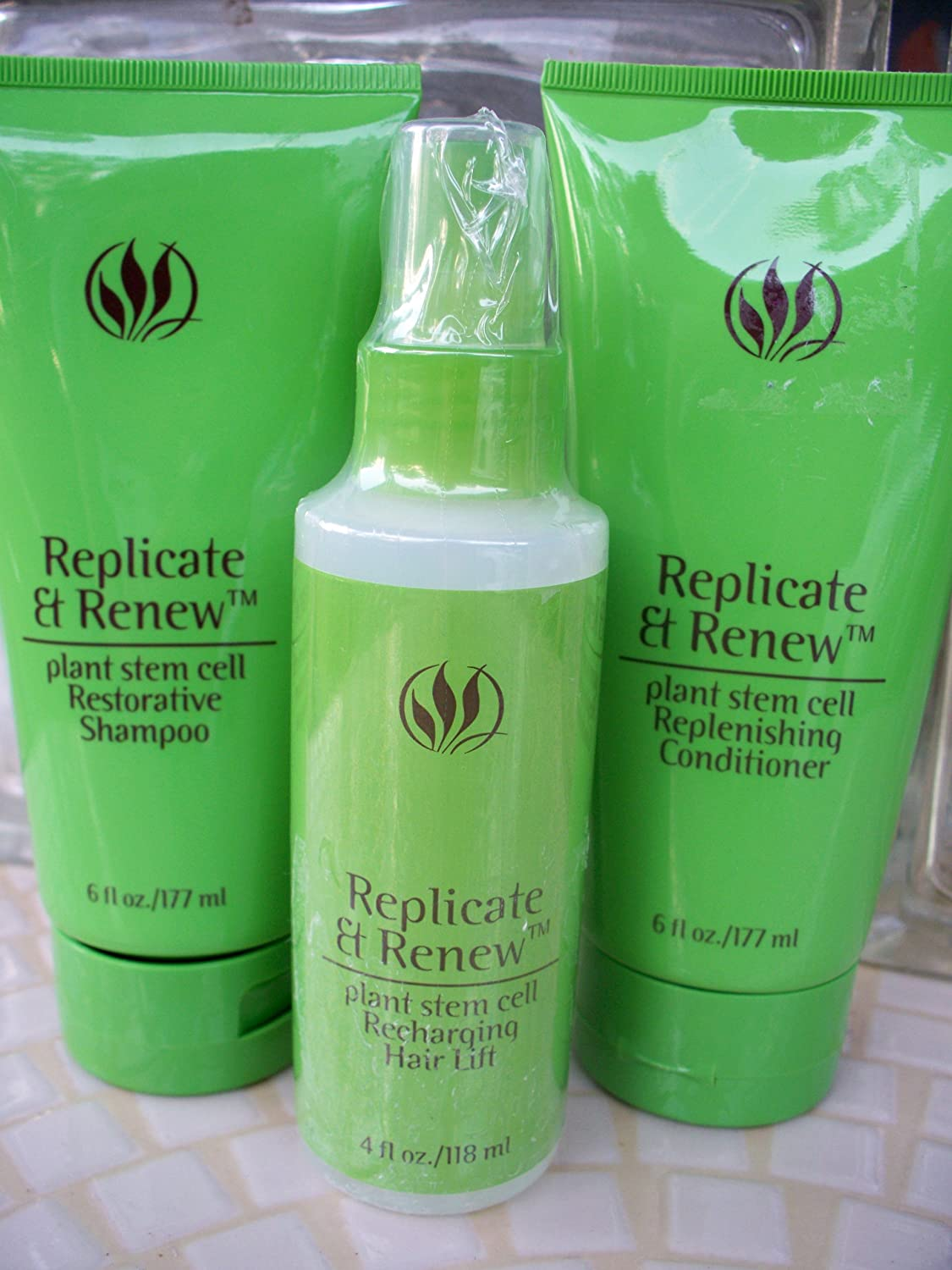 Serious Skin Care Replicate & Renew Plant Stem Cell Replenishing Shampoo & Conditioner 6 Oz Each + Recharging Hair Lift 4 Oz All Sealed