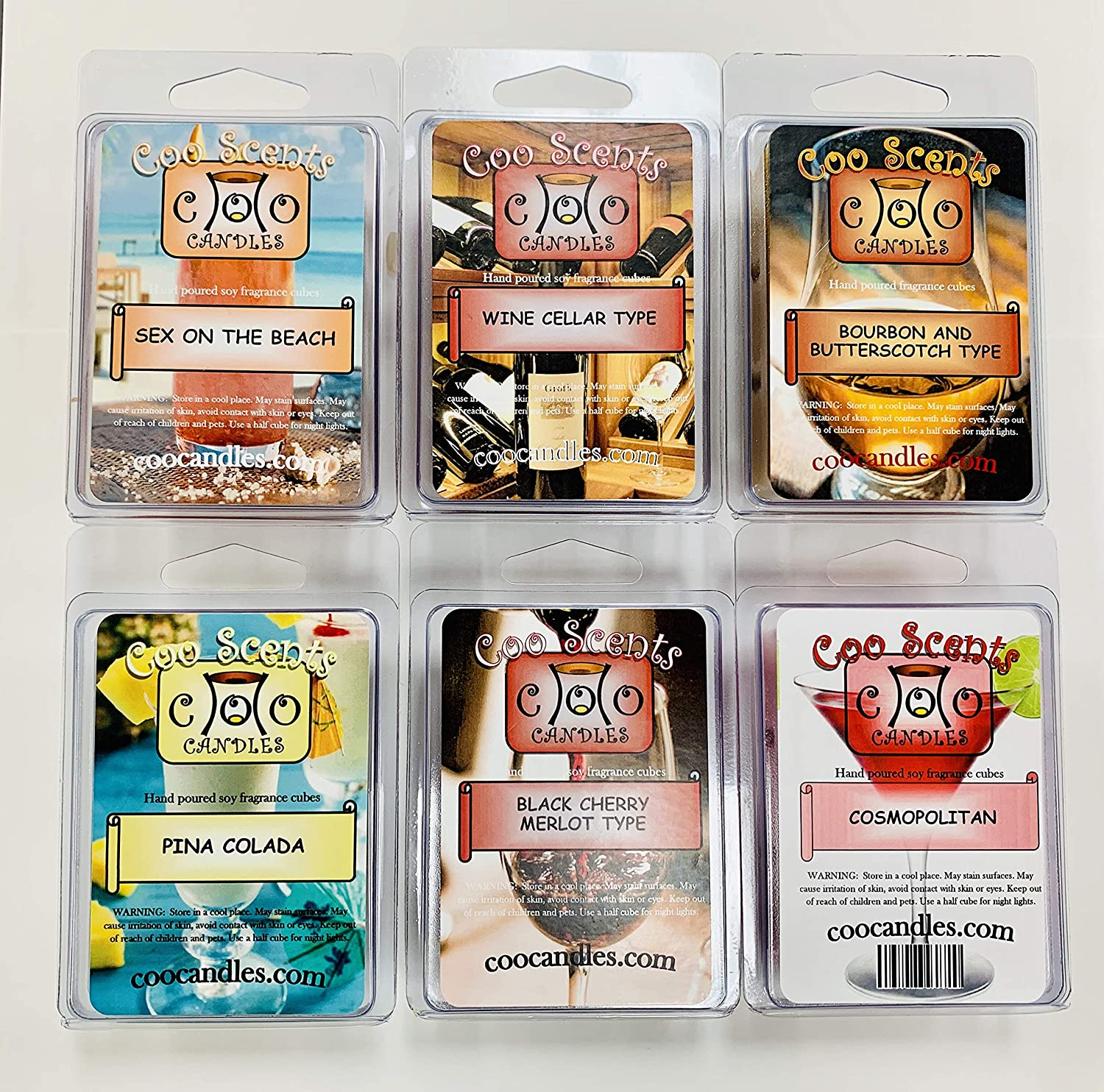 Coo Candles 6 Pack Soy Blend Wickless Candle Wax Bar Melts - Boozy Alcohol Pack - Pina Colada, Black Cherry Merlot, Cosmopolitan, Wine Cellar, and Bourbon Butterscotch, and Sex on The Beach: Home & Kitchen