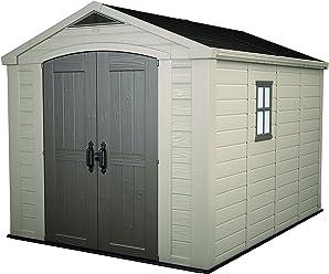 Keter - Caseta de jardín exterior Factor 8x11 con escuadra incluida, Color marrón / Beige