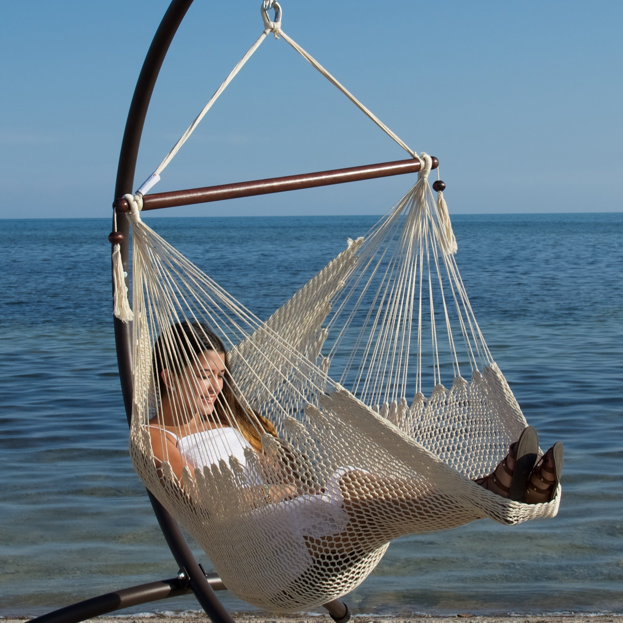 Swing Chair Hanging Rope Air Hammock Chair With Footrest 40 Inch Soft Spun  Cream