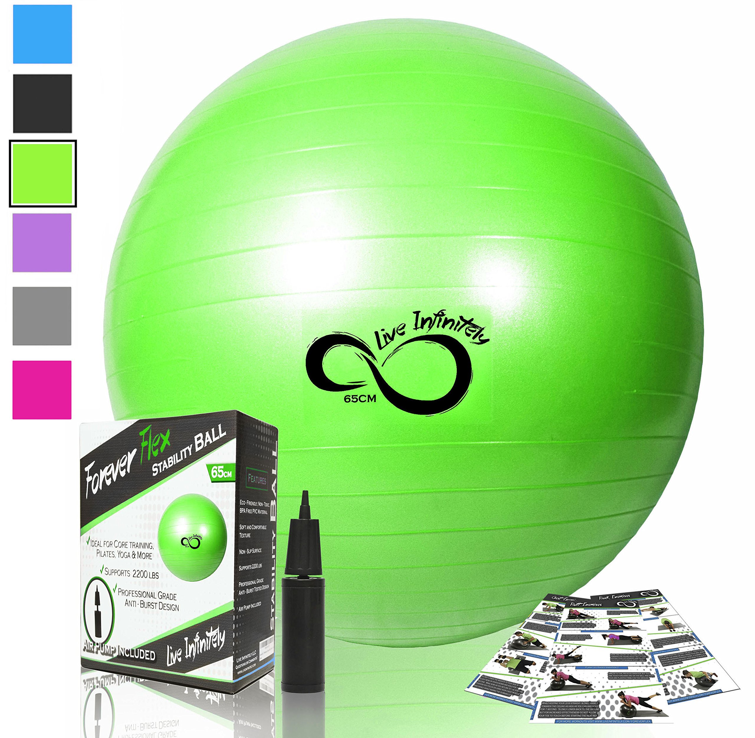 Live Infinitely Exercise Ball (55cm-95cm) Extra Thick Professional Grade Balance & Stability Ball- Anti Burst Tested Supports 2200lbs- Includes Hand Pump & Workout Guide Access Green 55cm