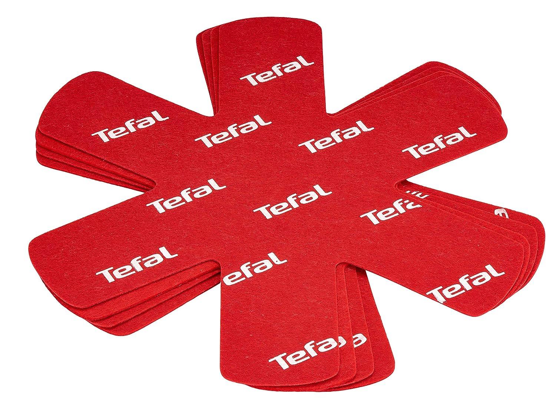 Tefal K2203004 Pack de 4 Protectores de ollas y sarténes, Tela, Rojo, 38 cm: Amazon.es: Hogar
