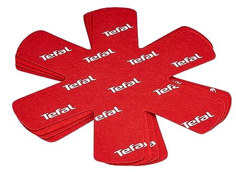 Tefal K2203004 Pack de 4 Protectores de ollas y sarténes, Tela, Rojo, 38