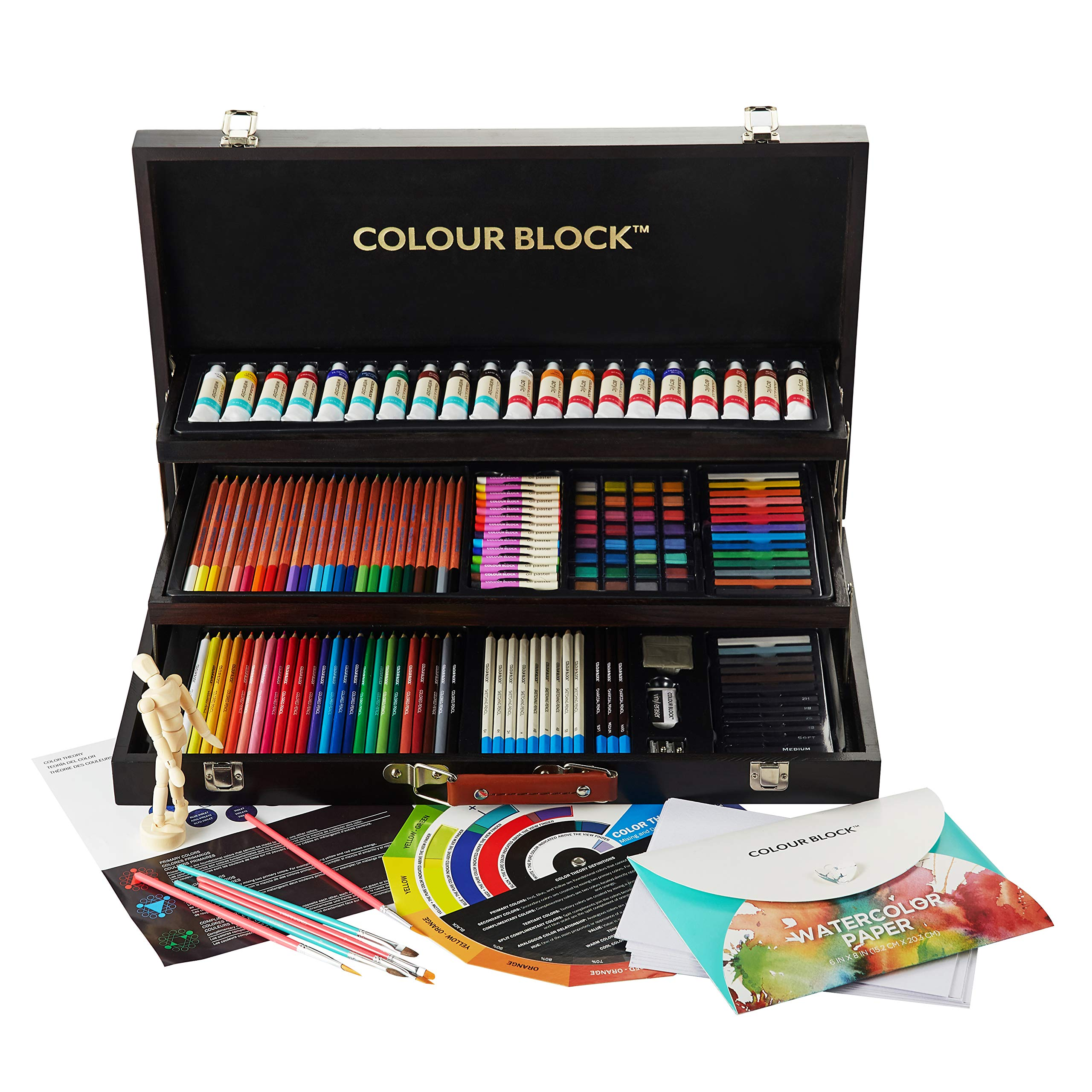 COLOUR BLOCK Deluxe 181 Piece Mixed Media Art Set in Wooden Case, with Soft & Oil Pastels, Acrylic & Watercolor Paints, Sketching, Charcoal & Colored Pencils, Coloring Card and Tools