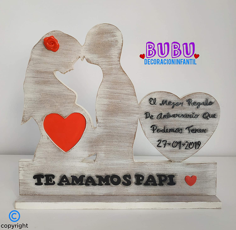 Portarretrato para ecografía con la silueta de los papás y corazón con leyenda personalizada: Amazon.es: Handmade