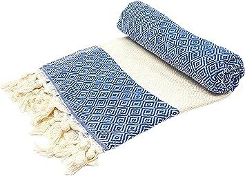 Stefano Ferrante Elmas Hamamtuch Saunatuch Pestemal Fouta Strandtuch Badetuch Handtuch Baumwolle Backpacker 100x180 Cm Blau Küche Haushalt