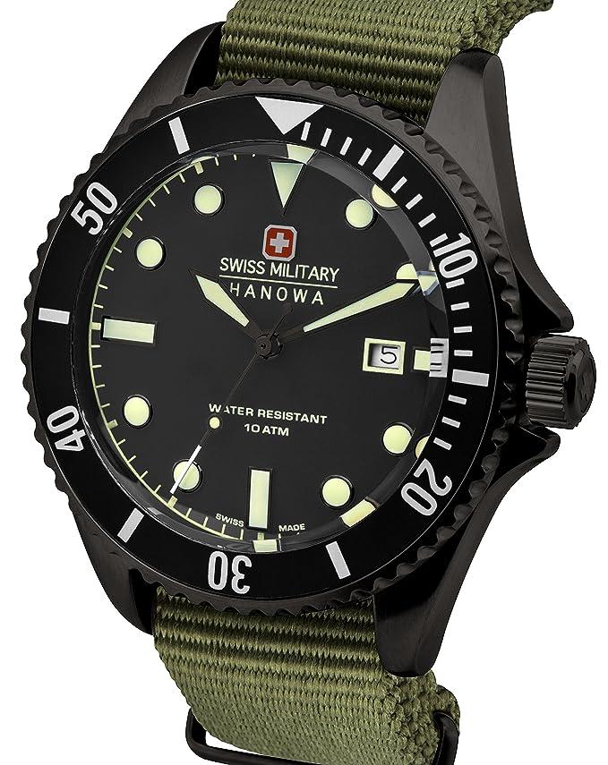 Reloj Cuarzo Swiss Military para Hombre con Negro Analogico Y Azul Nailon 6-4279.04.007.03: Amazon.es: Relojes