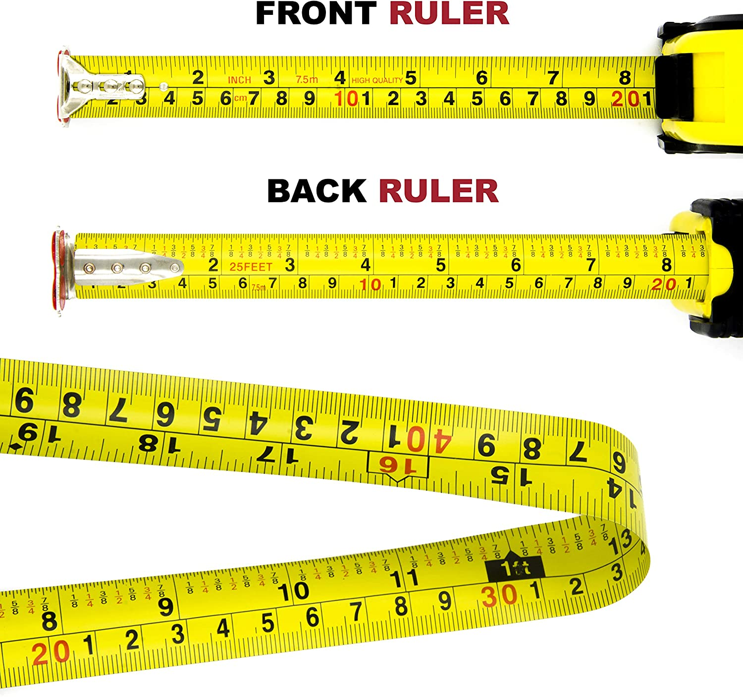 Measuring Tape Measure By Kutir Heavy Duty Metric Retractable EASY TO READ 25 Foot BOTH SIDE DUAL RULER MAGNETIC HOOK SHOCK ABSORBENT Solid Rubber Case STURDY Inches and Imperial Measurement