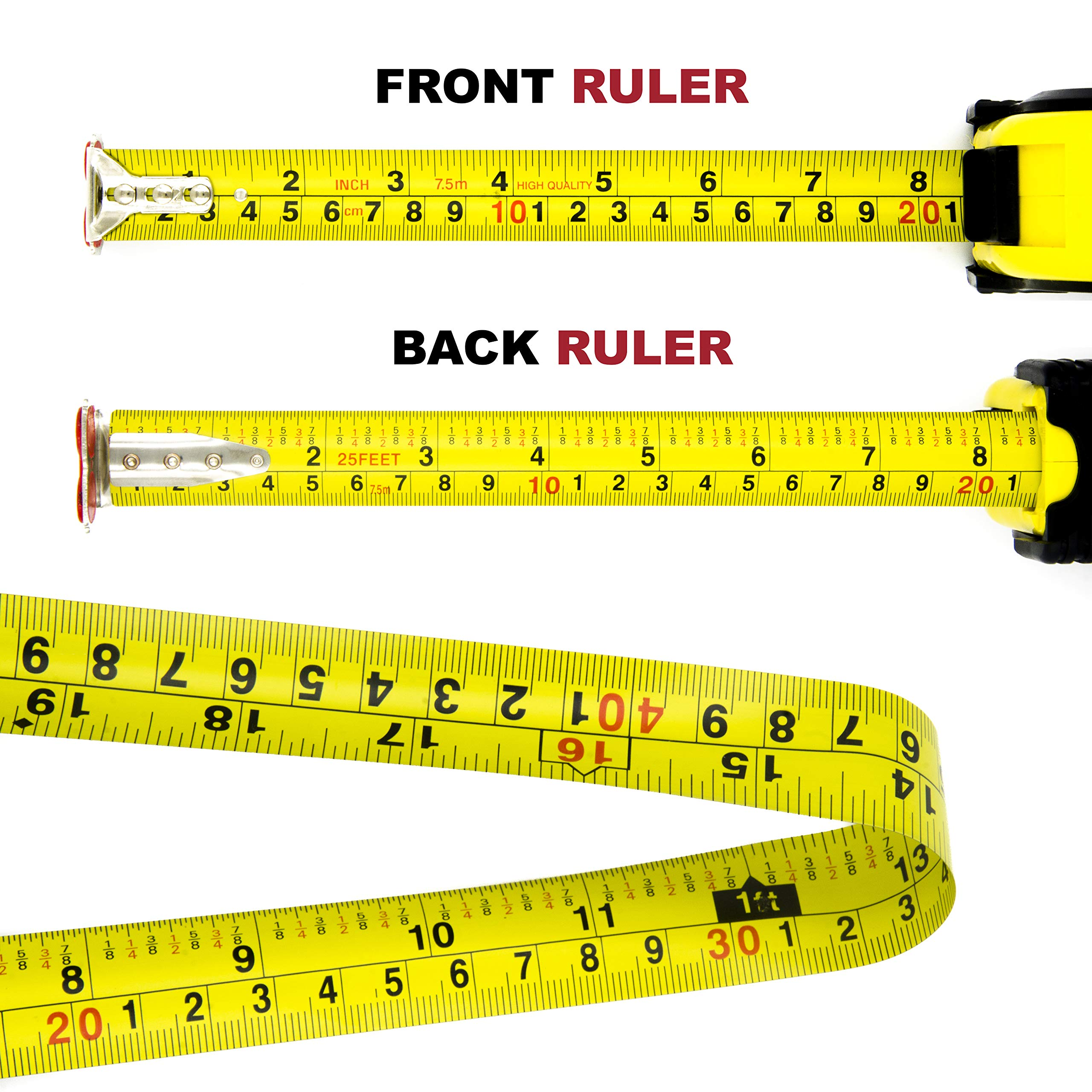 Measuring Tape Measure By Kutir - EASY TO READ 25 Foot BOTH SIDE DUAL RULER, Retractable, STURDY, Heavy Duty, MAGNETIC HOOK, Metric, Inches and Imperial Measurement, SHOCK ABSORBENT Solid Rubber Case by Kutir (Image #3)