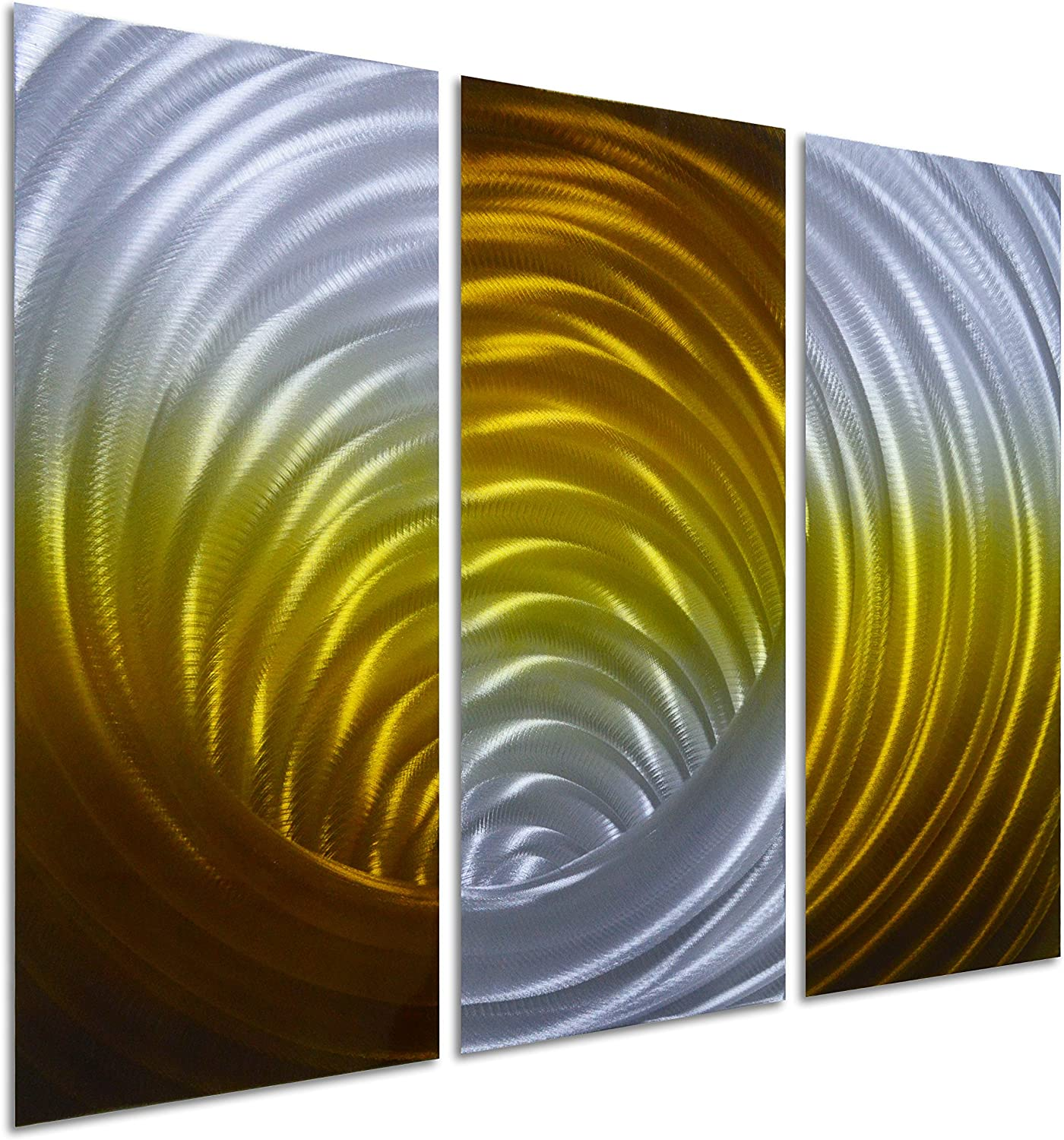 Pure Art Vortex in Gold - Abstract Metal Wall Art Painting - Modern Hanging Decor of 3-Panel - Small Design Decoration of 32