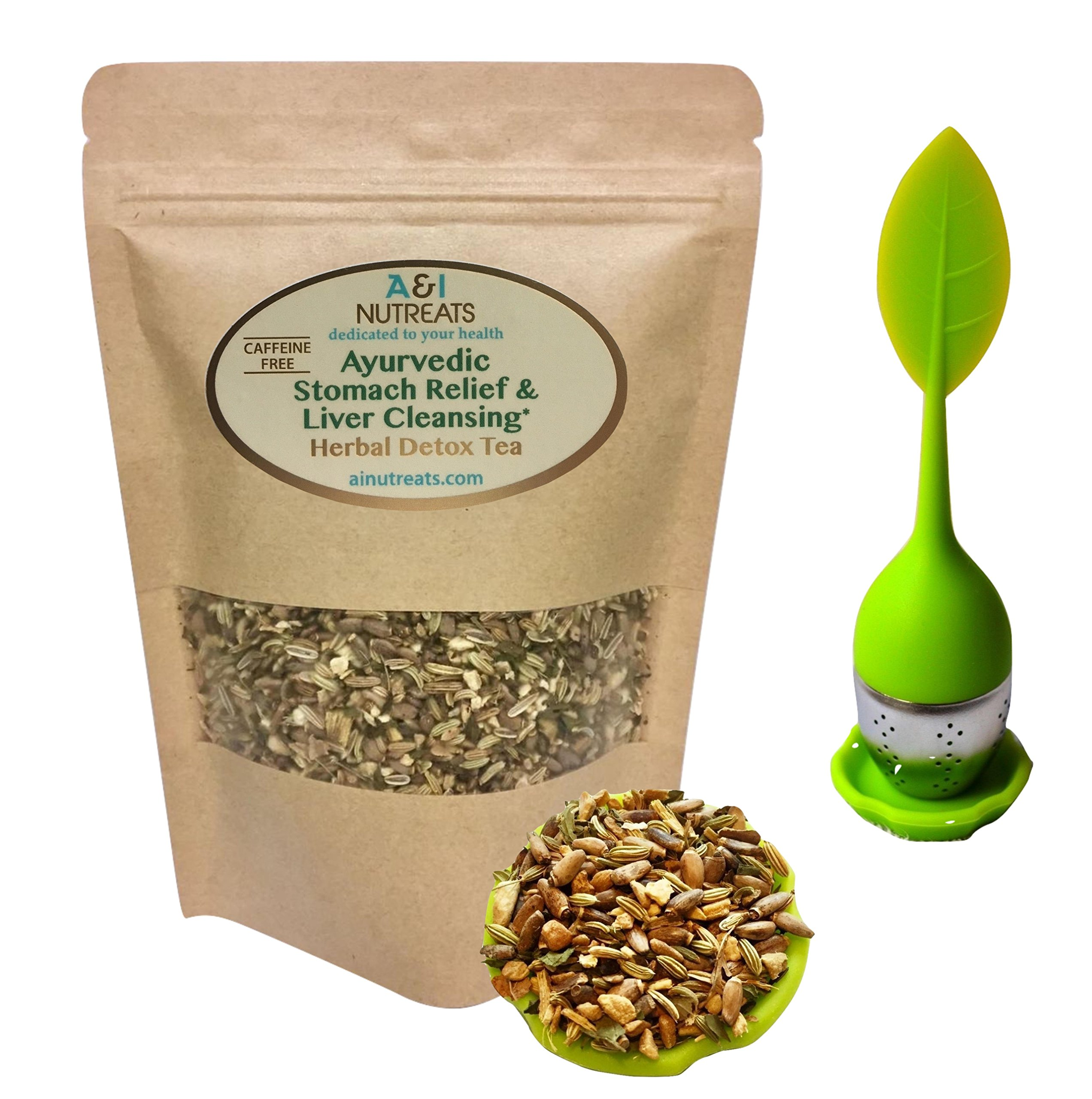 Ayurvedic Antacid Stomach Relief & Liver Cleansing Detox tea - Organic Loose Leaf Milk Thistle, Fennel, Ginger, Peppermint and Licorice Tea (Loose with tea Infuser, 2 oz.)