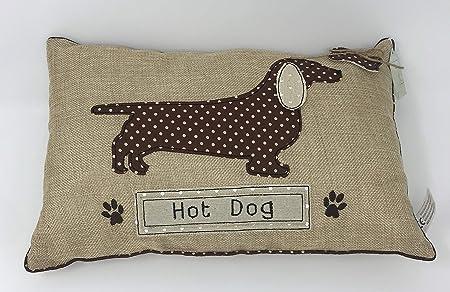 Dachshund sausage dog applique rectangular cushion hot dog