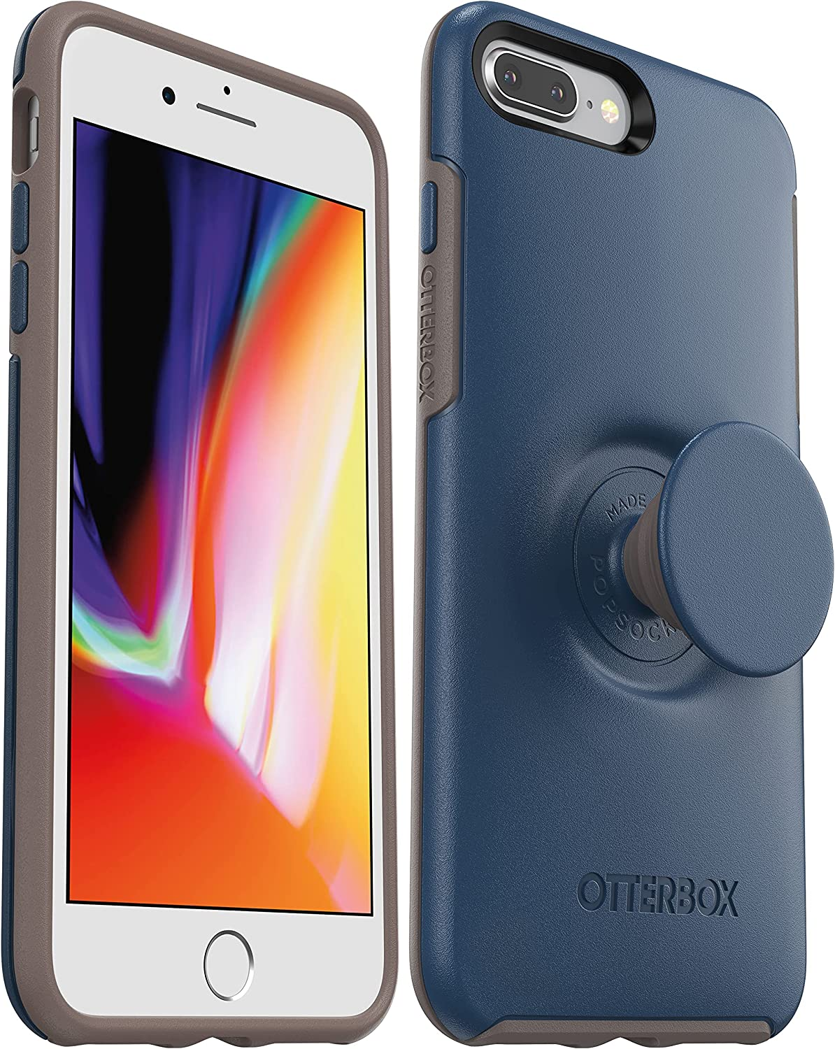 OtterBox + Pop Symmetry Series Case for iPhone SE (2020), iPhone 8, iPhone 7 (NOT Plus) Non-Retail Packaging - Go to Blue