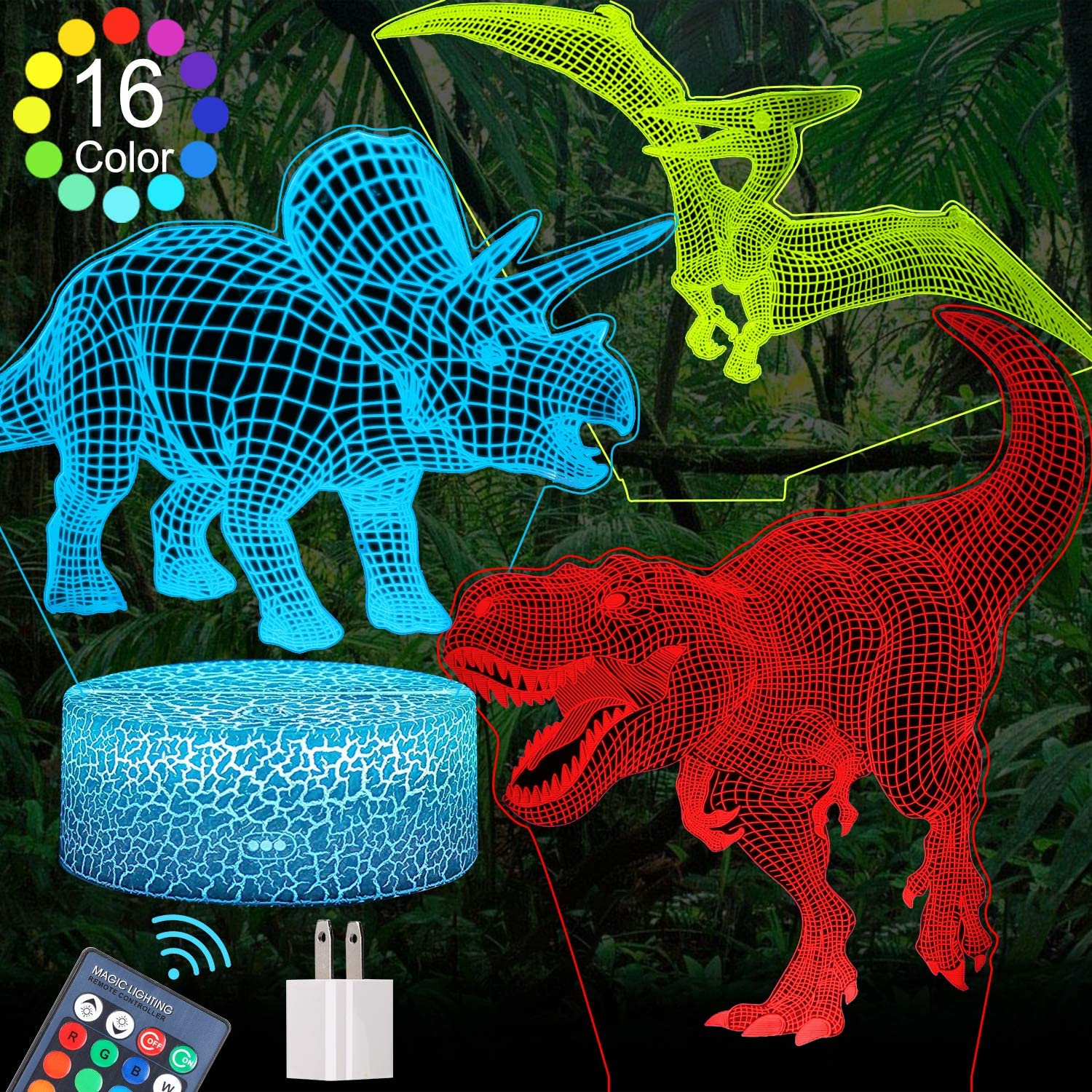 FEOAMO 3D Dinosaur Night Light for Boys, 16-Colors and 3-Pattern with Remote Control, Dino Night Light, 3D Illusion Toy Lamp Nightlight, Gift for Boys Aged 4 5 6 7 8