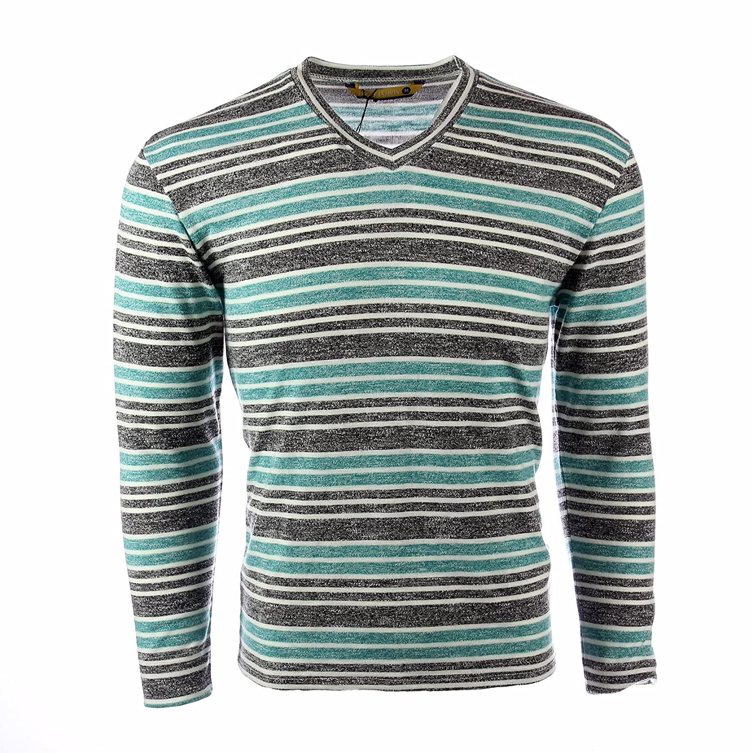 Vmz Fashion Mens Sweatshirt V Neck Striped Slim Fit Faded