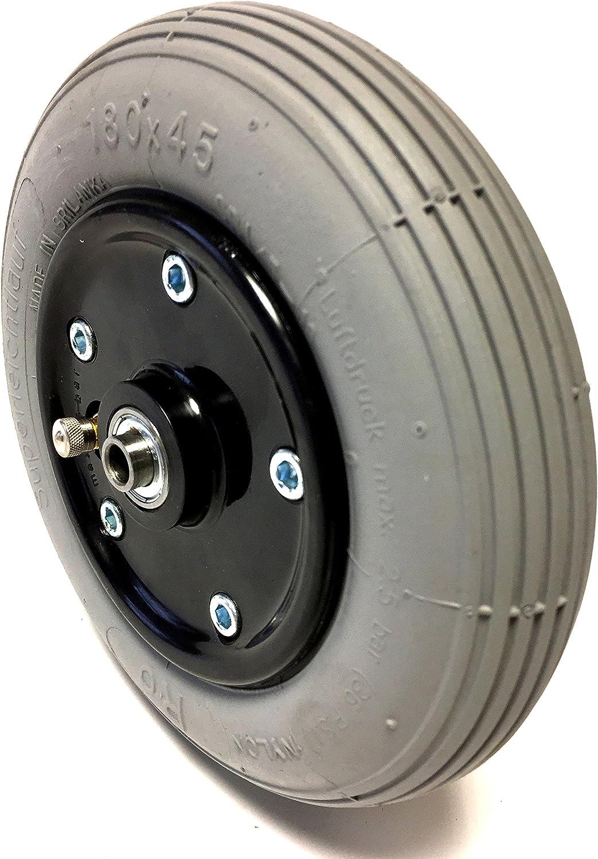 Silla Neumáticos 180 x 45/7 X 1 3/4 - Rueda para, aire, neumáticos gris con 2 de teilger Negro y atornillada de plástico llanta (Cambio de manguera con facilidad.)