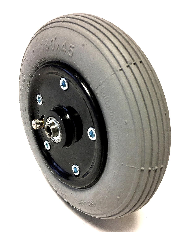 Silla Neumáticos 180 x 45/7 X 1 3/4 - Rueda para, aire, neumáticos gris con 2 de teilger Negro y atornillada de plástico llanta (Cambio de manguera con ...