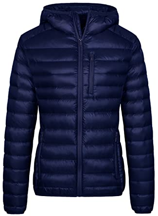 42873f86a6a Wantdo Women's Hooded Packable Ultra Light Weight Down Jacket(Navy, Small)