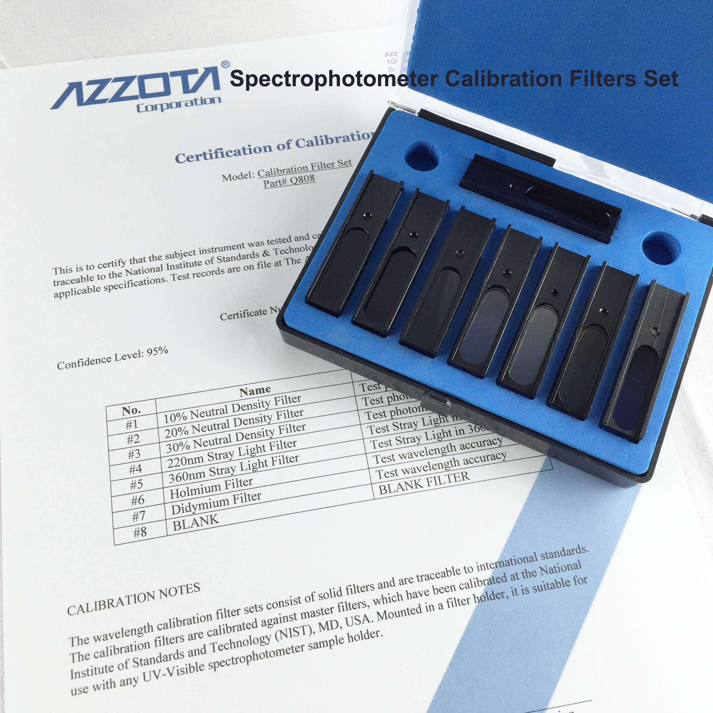 Azzota Spectrophotometer Calibration Filters Set - 8 Pieces - Uv Neutral Density, Didymium, Stray Light, Neutral Density and Holmium Filters.