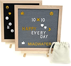 2 Pack Felt Letter Board 10x10 Inches. Include 1020 White & 340 Gold Pre-Cut Letters, Symbols, Emojis Great for Farmhouse Office Rustic Home Decor