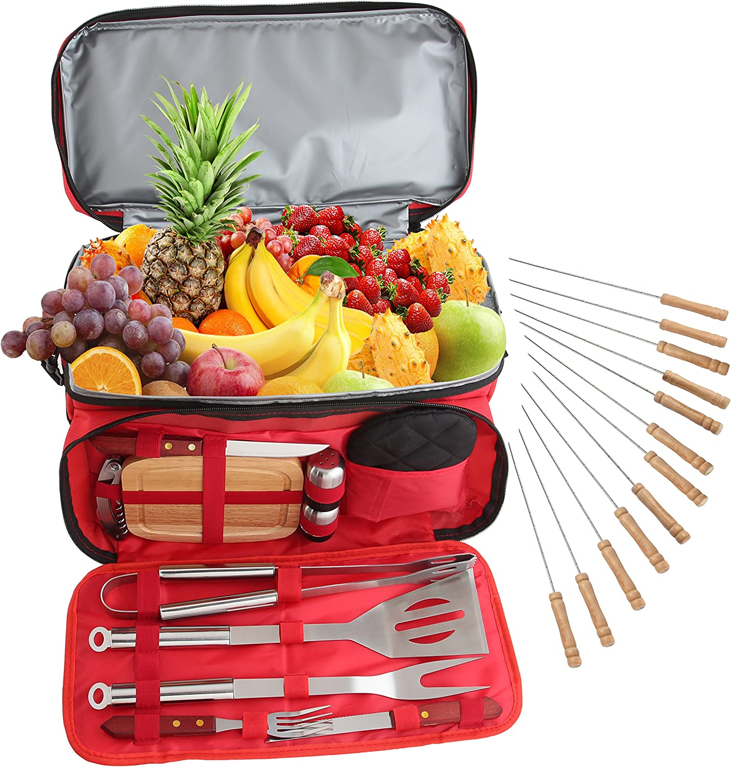 ROMANTICIST Heavy Duty BBQ Grill Accessories Set with 15 Can Cooler Bag – 24Pc Stainless Steel Barbecue Tool Set in Water Proof Insulated Bag for Outdoor Picnic Camping Tailgating – Ideal Gift Kit