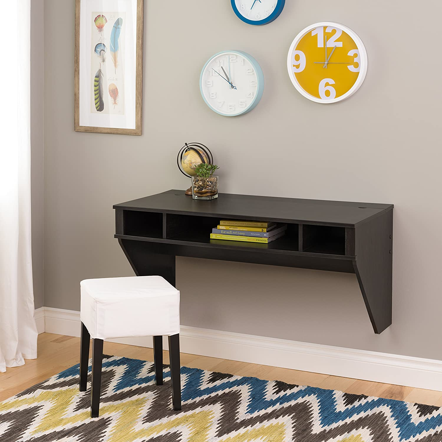 office wall desk. amazon.com: prepac wall mounted designer floating desk in washed ebony: kitchen \u0026 dining office d