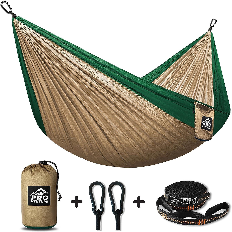 Proventureキャンプハンモック& Freeツリーストラップ – 軽量コンパクト – Forバック、ビーチ、バックヤード、旅行、または任意の冒険。 B072DWX2G7 Khaki/ Green Khaki/ Green