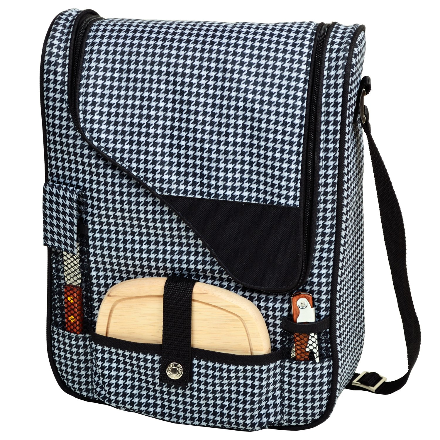 Picnic at Ascot Houndstooth Print Canvas Wine and Cheese Cooler Bag