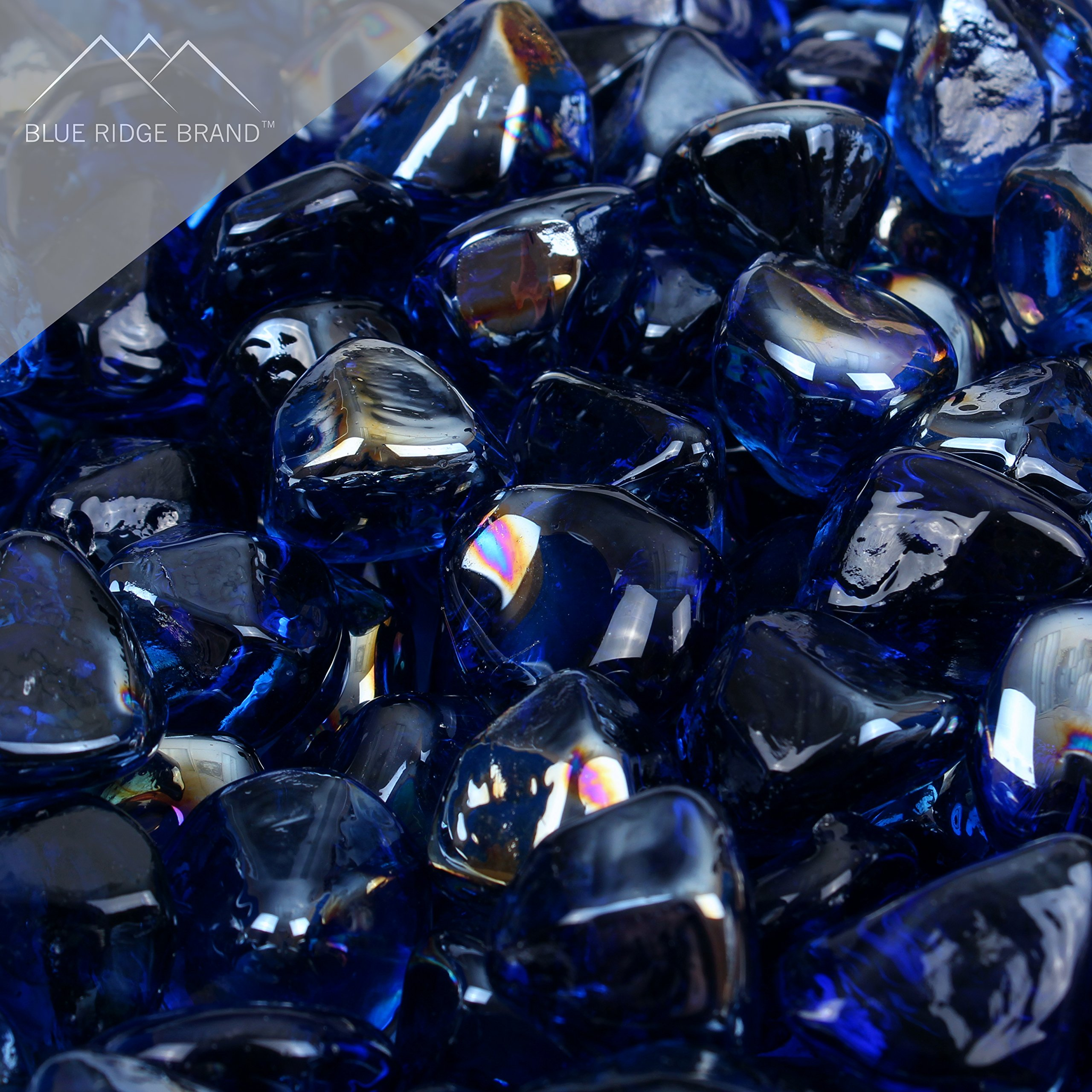 Blue Ridge Brand™ Dark Blue Reflective Fire Glass Diamonds - 50-Pound Professional Grade Fire Pit Glass - 1'' Reflective Fire Pit Glass Bulk Contractor Pack